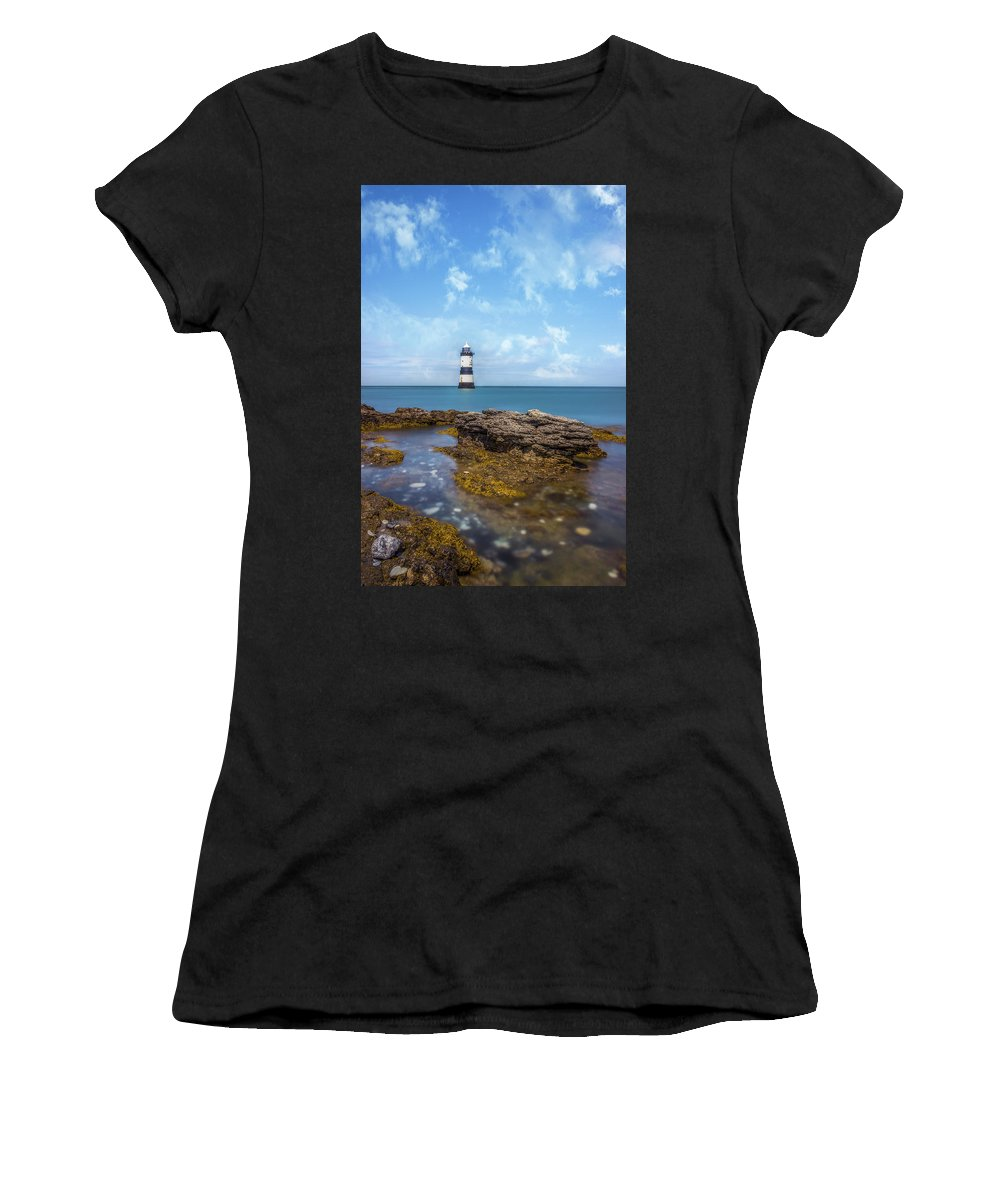 Wales Women's T-Shirt (Athletic Fit) featuring the photograph Trwyn Du Lighthouse by Ian Mitchell