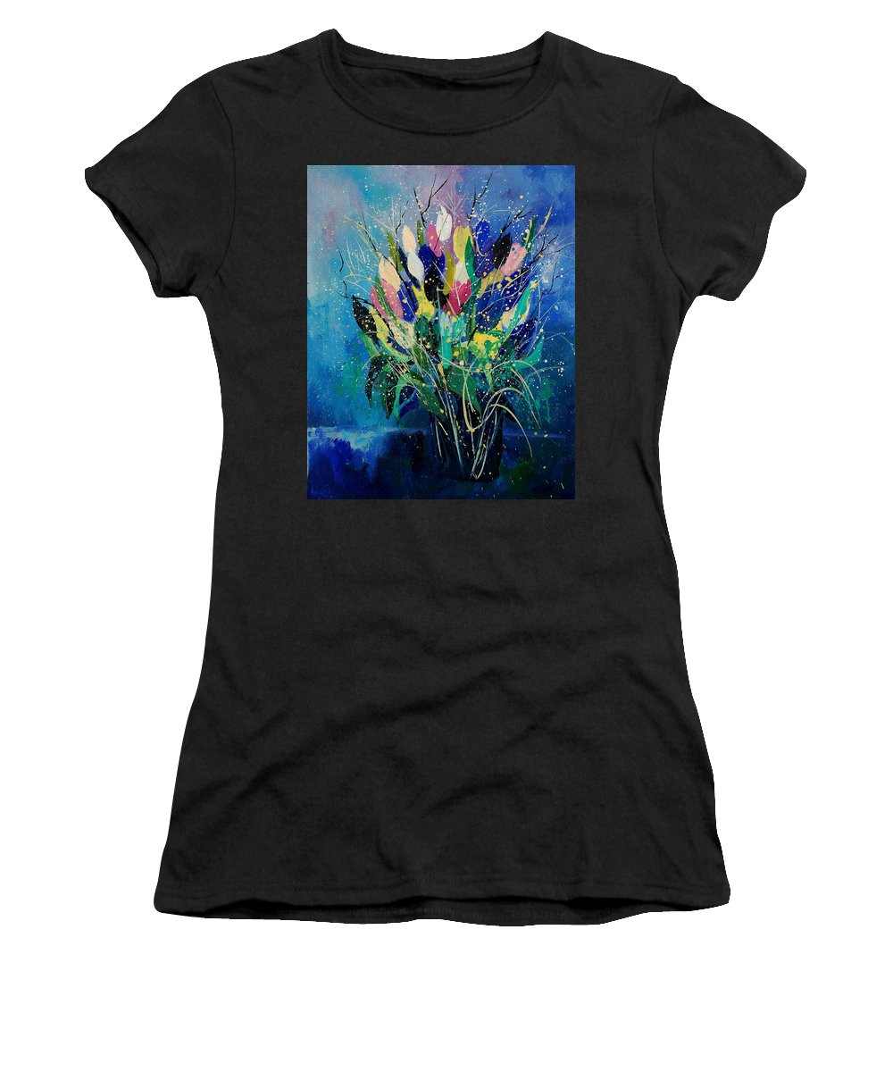 Flowers Women's T-Shirt featuring the painting Tulips 45 by Pol Ledent