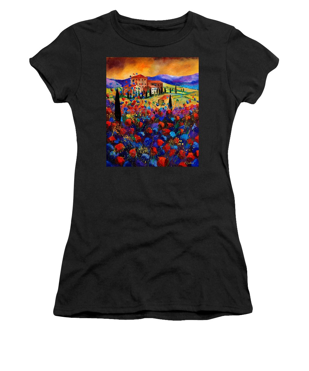 Flowers Women's T-Shirt featuring the painting Tuscany Poppies by Pol Ledent