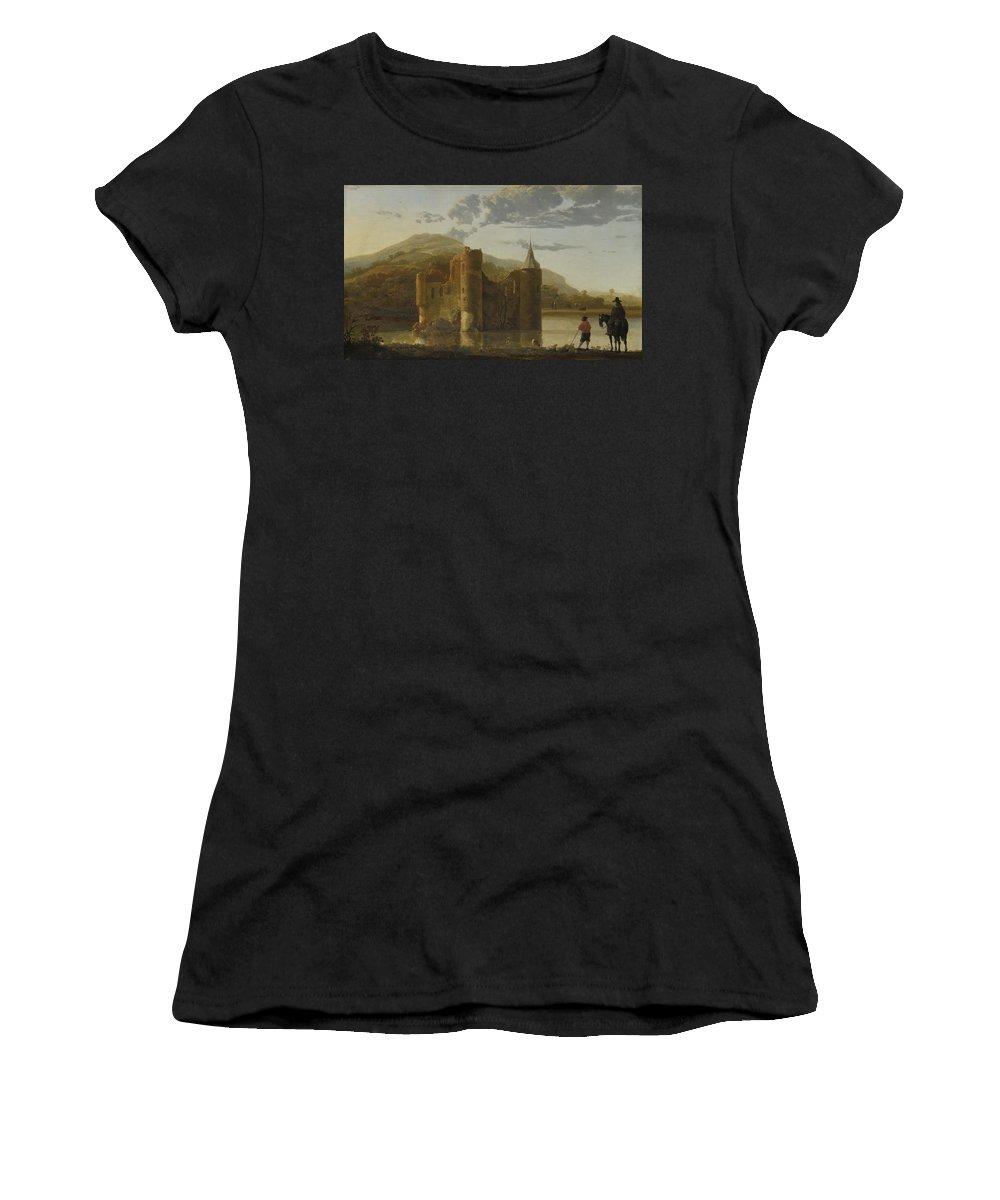 Aelbert Women's T-Shirt (Athletic Fit) featuring the digital art Ubbergen Castle by PixBreak Art