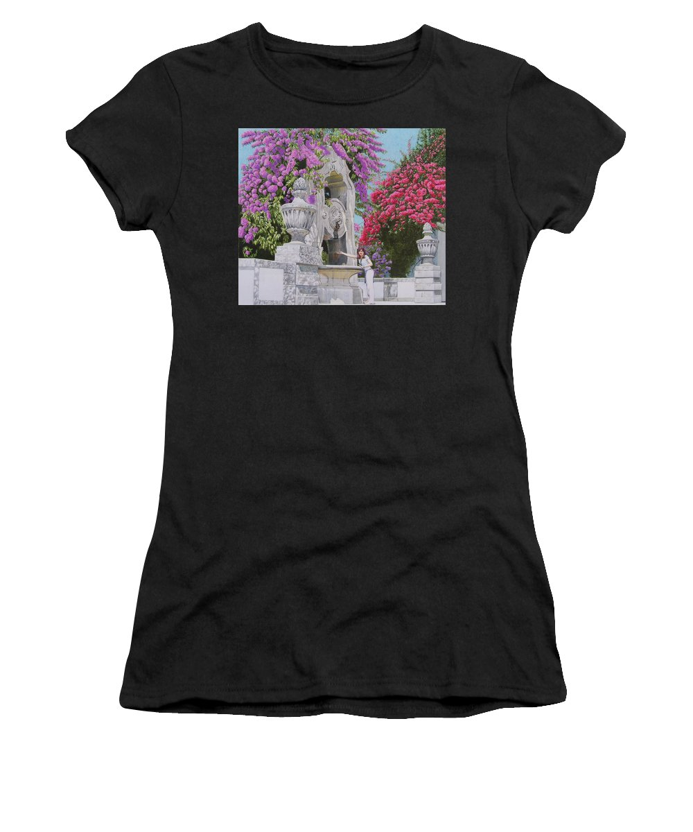 Landscape Women's T-Shirt (Athletic Fit) featuring the mixed media Vacation In Portugal by Constance Drescher