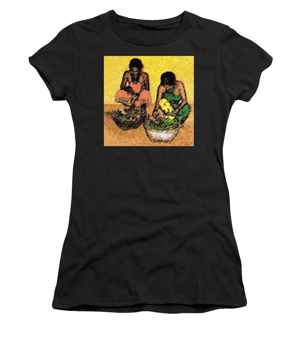 India Women's T-Shirt (Athletic Fit) featuring the digital art Vegetable Sellers by Claudio Fiori