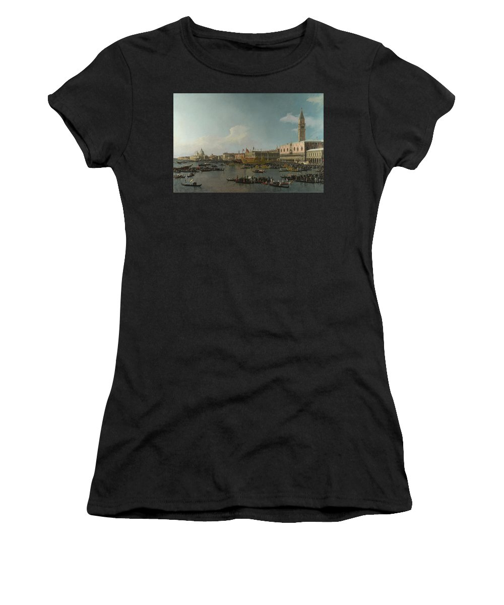 Canaletto Women's T-Shirt (Athletic Fit) featuring the digital art Venice  The Basin Of San Marco On Ascension Day by PixBreak Art
