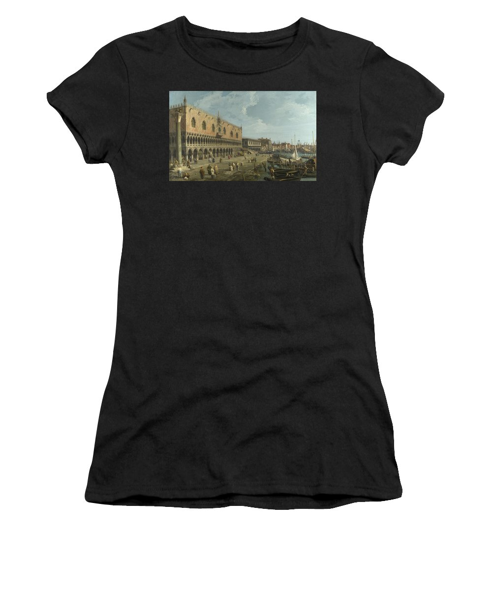 Canaletto Women's T-Shirt (Athletic Fit) featuring the digital art Venice  The Doges Palace And The Riva Degli Schiavoni by PixBreak Art