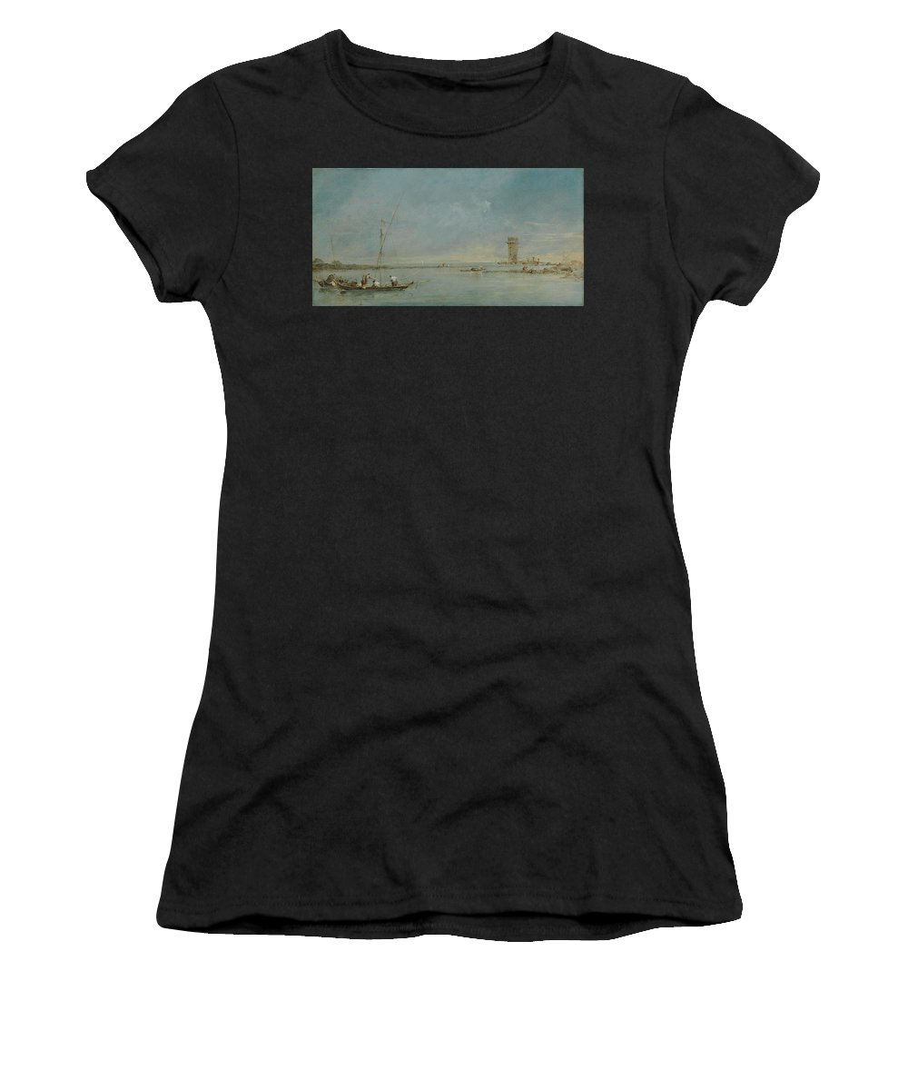 Francesco Women's T-Shirt (Athletic Fit) featuring the digital art View Of The Venetian Lagoon With The Tower Of Malghera by PixBreak Art