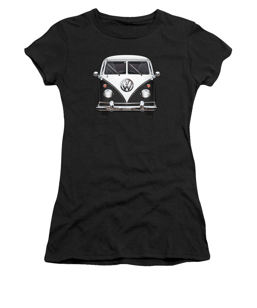 'volkswagen Type 2' Collection By Serge Averbukh Women's T-Shirt featuring the photograph Volkswagen Type 2 - Black And White Volkswagen T 1 Samba Bus On Red by Serge Averbukh