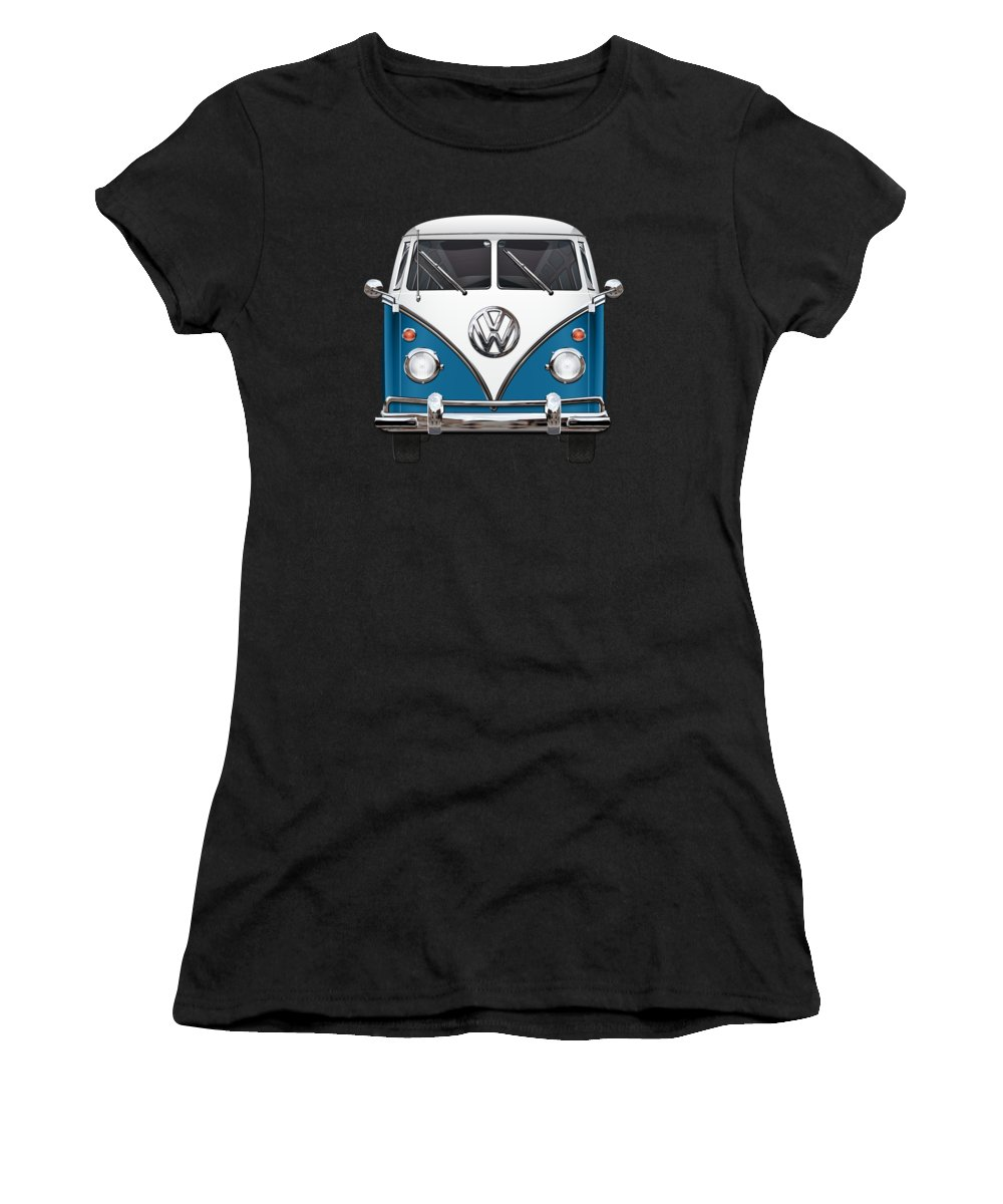 'volkswagen Type 2' Collection By Serge Averbukh Women's T-Shirt featuring the photograph Volkswagen Type 2 - Blue And White Volkswagen T 1 Samba Bus Over Orange Canvas by Serge Averbukh