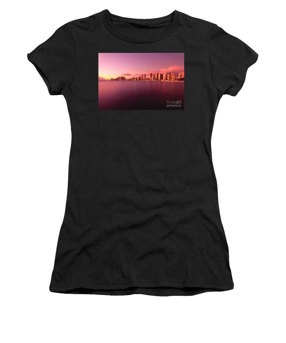 Across Women's T-Shirt (Athletic Fit) featuring the photograph Waikiki At Sunset by Carl Shaneff - Printscapes