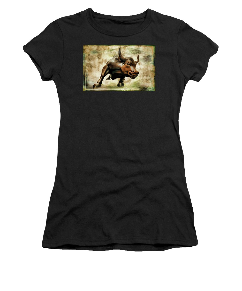 Wall Street Bull Women's T-Shirt (Athletic Fit) featuring the photograph Wall Street Bull Vii by Athena Mckinzie