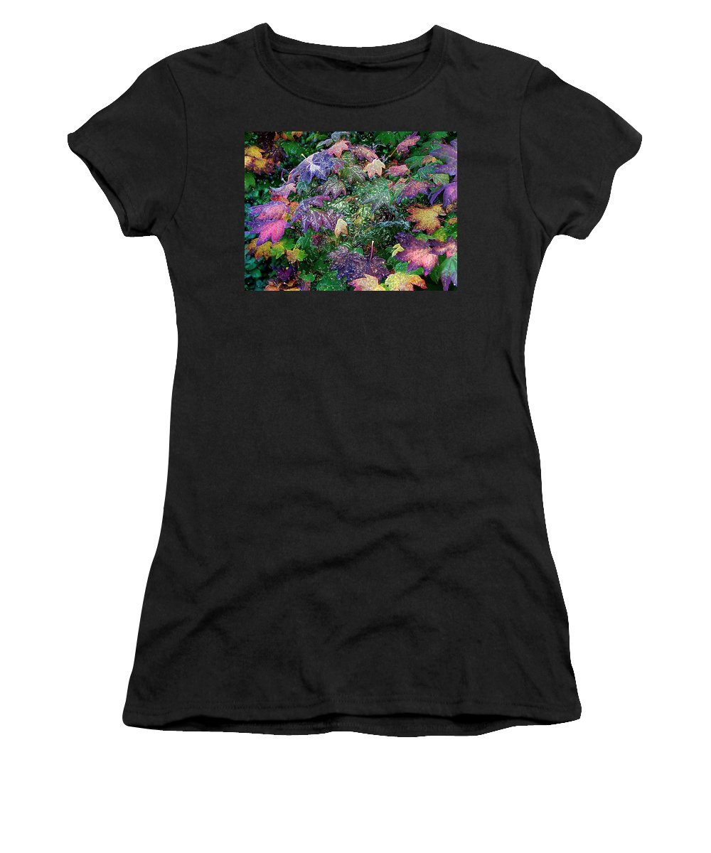 Backgrounds Women's T-Shirt (Athletic Fit) featuring the photograph Wet Washington Autumn Fantasy 1 by John Carey