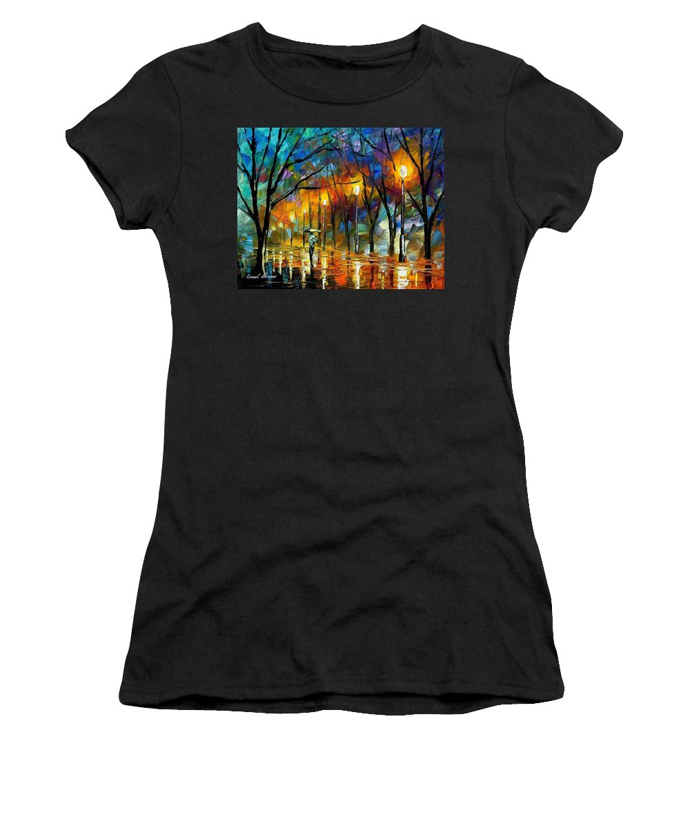 Landscape Women's T-Shirt featuring the painting Winter by Leonid Afremov