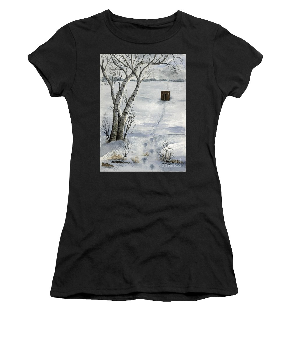 Fishing Women's T-Shirt featuring the painting Winter Splendor by Mary Tuomi