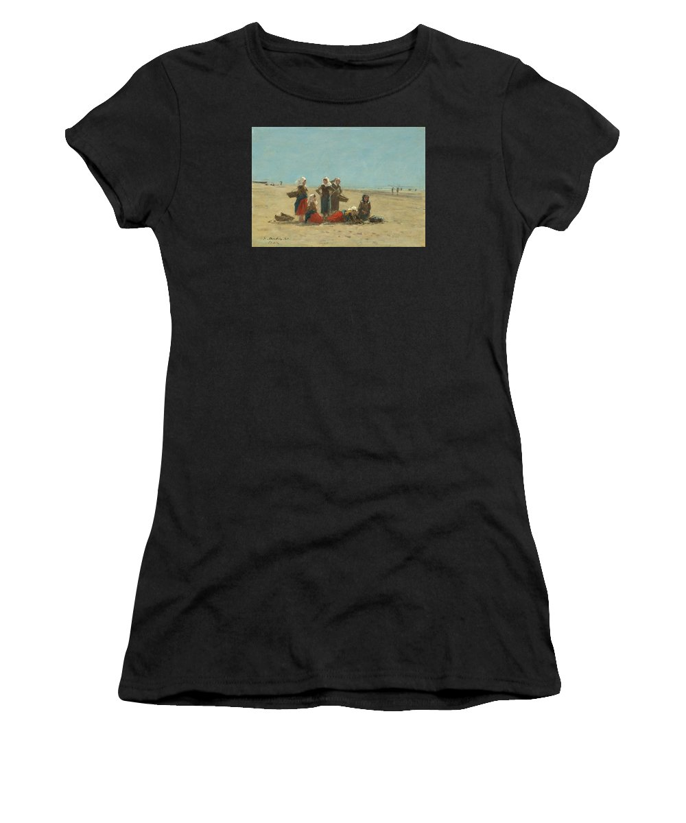 Eugene Boudin Women's T-Shirt (Athletic Fit) featuring the painting Women On The Beach At Berck by Eugene Boudin