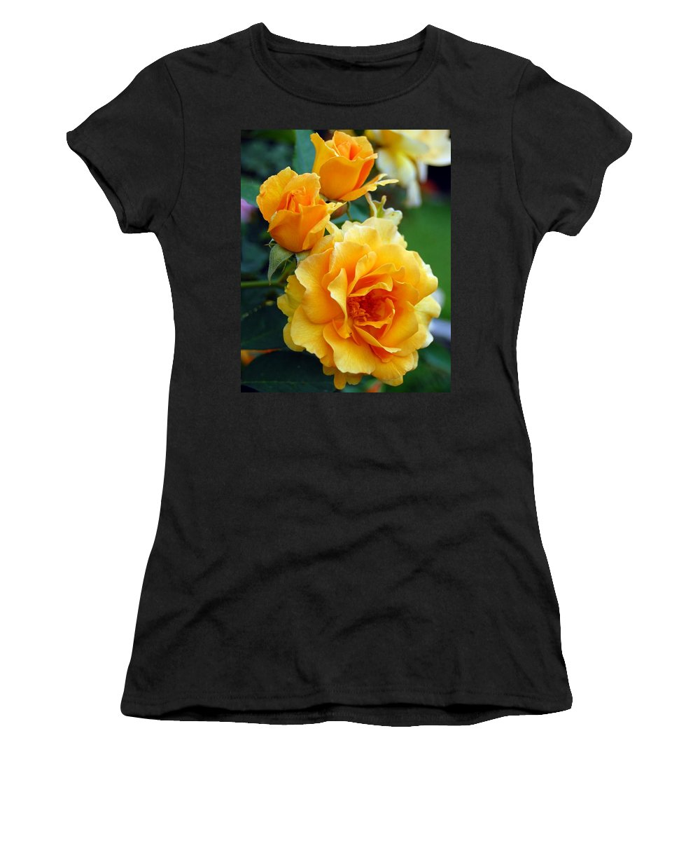 Flower Women's T-Shirt featuring the photograph Yellow Roses by Amy Fose
