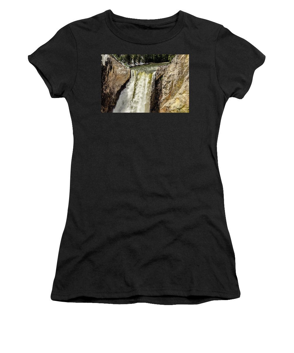Spring Women's T-Shirt (Athletic Fit) featuring the photograph Yellowstone Falls by Yeates Photography