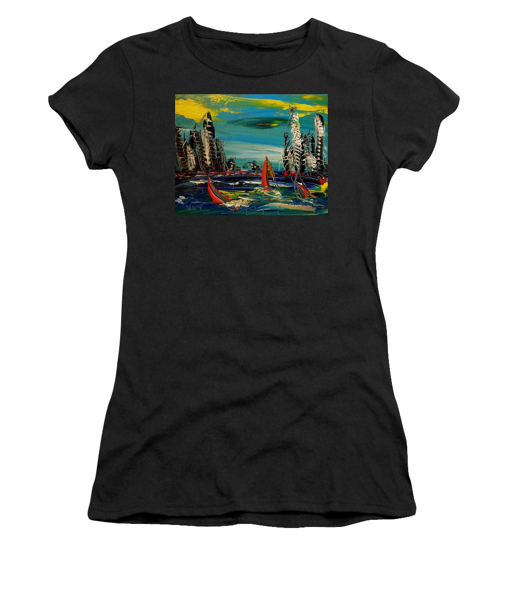 Newyork Women's T-Shirt (Athletic Fit) featuring the painting New York by Mark Kazav