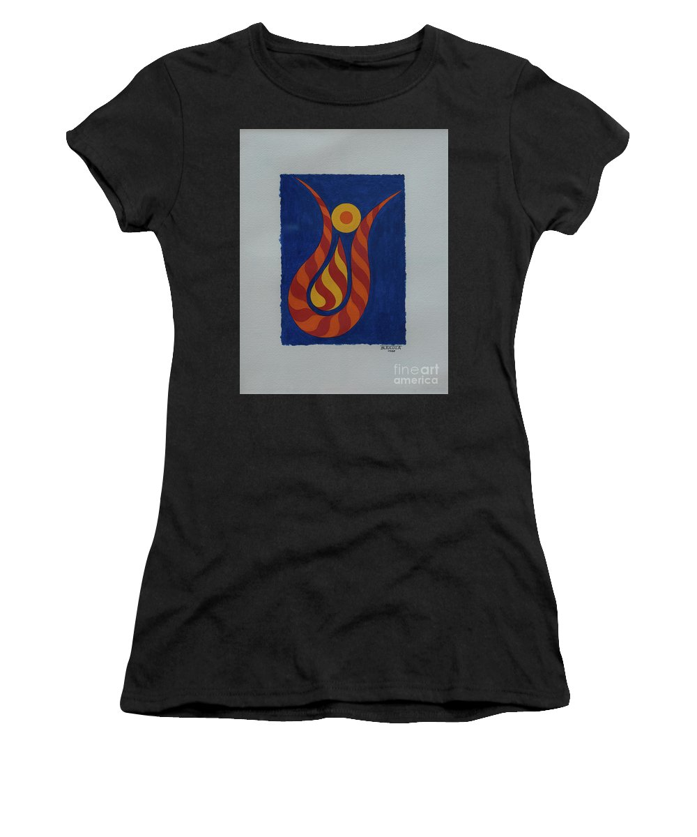 Abstract Women's T-Shirt (Athletic Fit) featuring the painting Untitled by Bernard Tulula