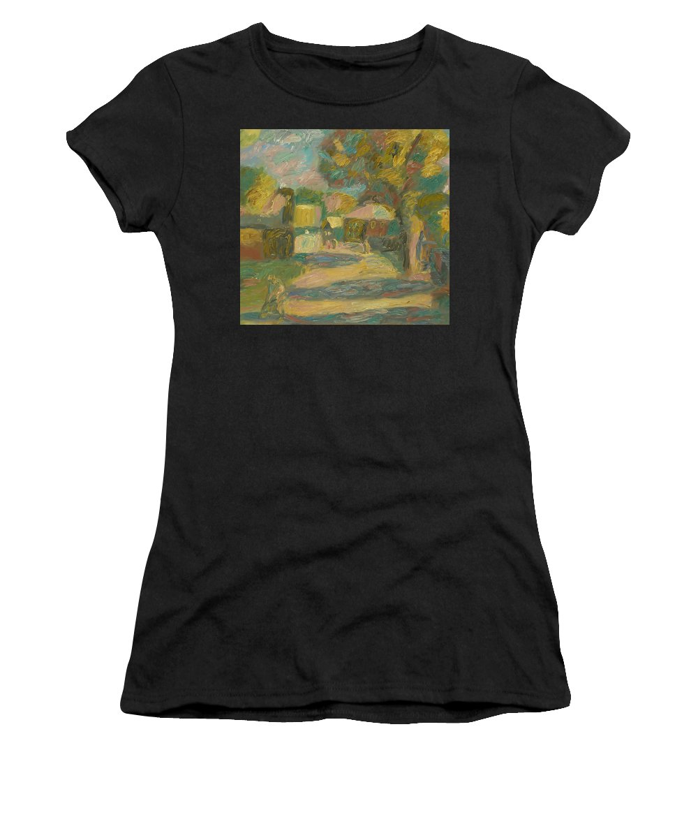 Street Women's T-Shirt featuring the painting Village by Robert Nizamov