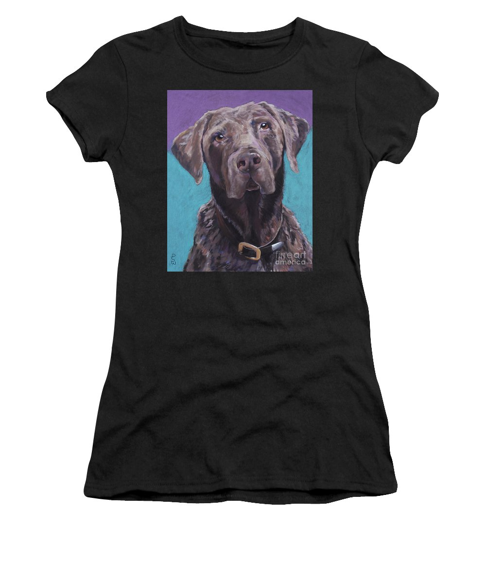 Pet Portrait Commissions Women's T-Shirt featuring the pastel 100 Lbs. Of Chocolate Love by Pat Saunders-White