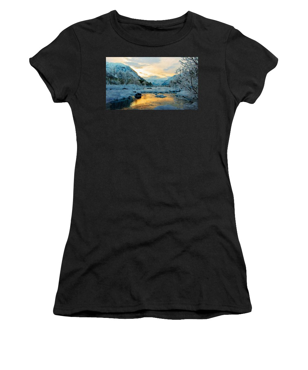 Landscape Women's T-Shirt (Athletic Fit) featuring the painting Nature Landscapes Prints by World Map