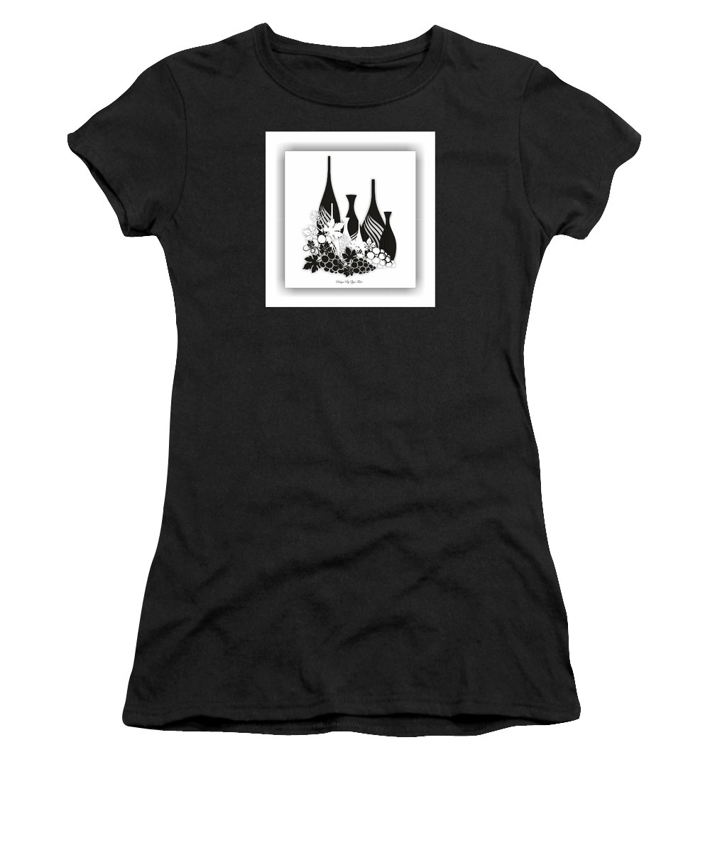 Women's T-Shirt (Athletic Fit) featuring the digital art Abstract Monochrome by Ziya Tatar