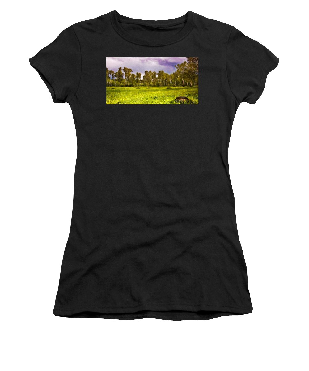 Landscape Women's T-Shirt (Athletic Fit) featuring the painting Landscape Nature Scene by World Map