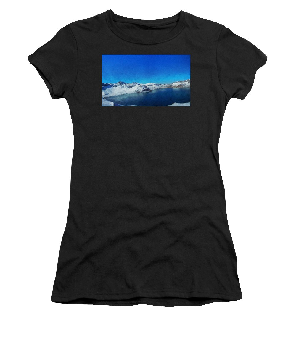 Landscape Women's T-Shirt (Athletic Fit) featuring the painting Nature Landscape Art by World Map
