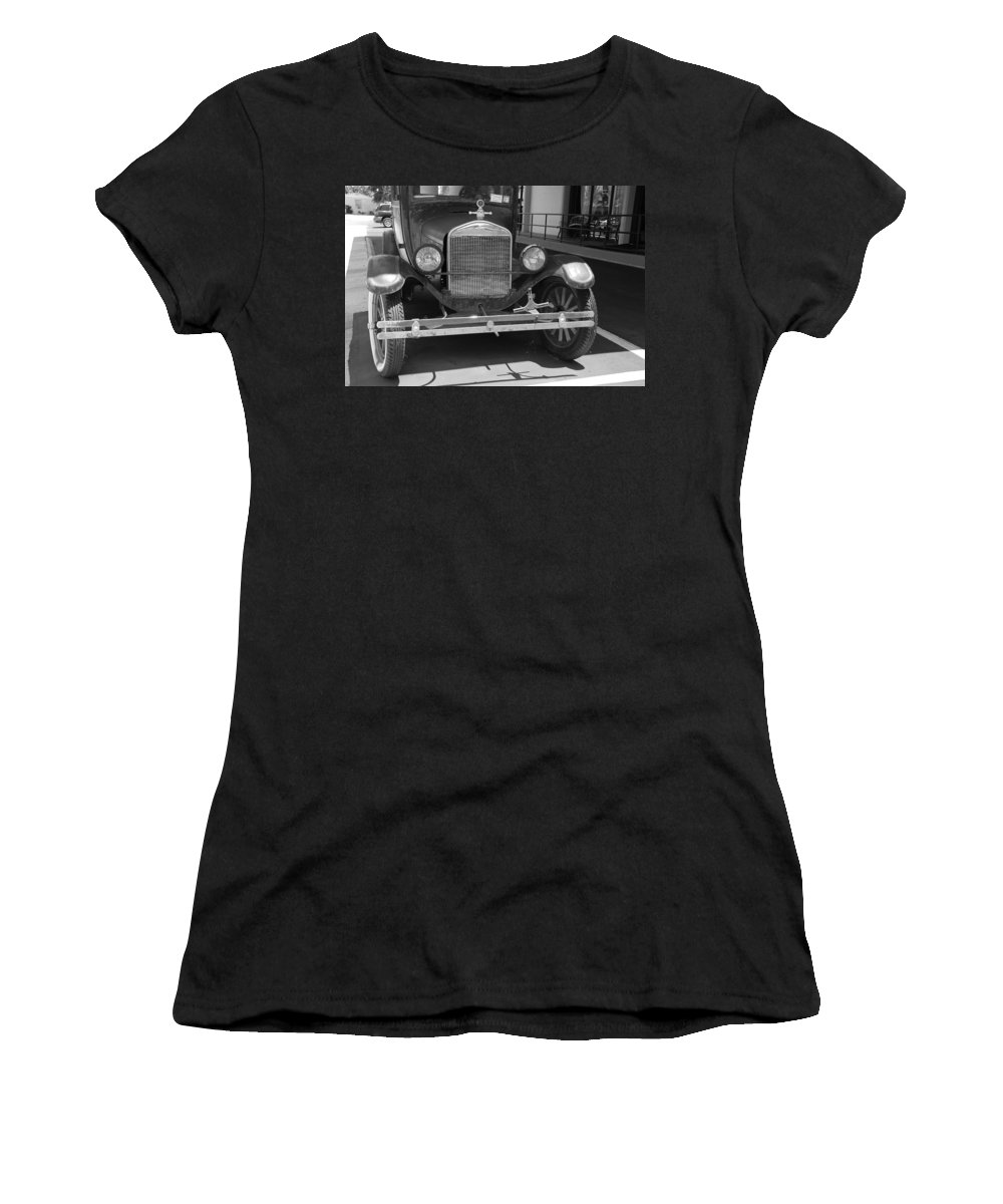 Black And White Women's T-Shirt featuring the photograph 1926 Model T Ford by Rob Hans