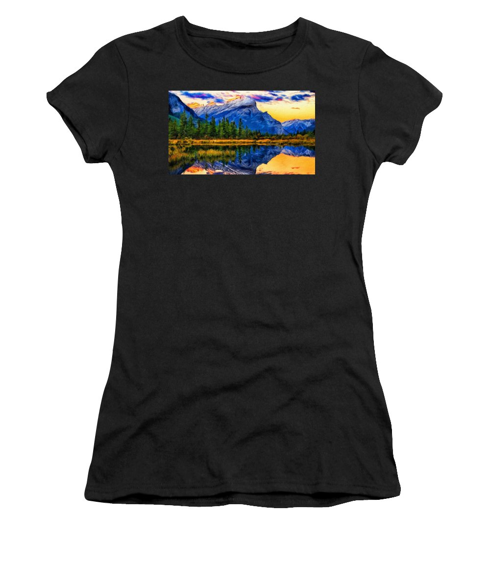 Landscape Women's T-Shirt (Athletic Fit) featuring the painting Nature Art Landscape Canvas Art Paintings Oil by World Map