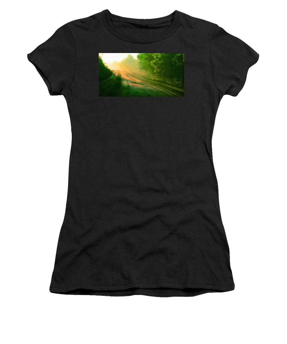 Landscape Women's T-Shirt (Athletic Fit) featuring the painting Nature Art Original Landscape Paintings by World Map