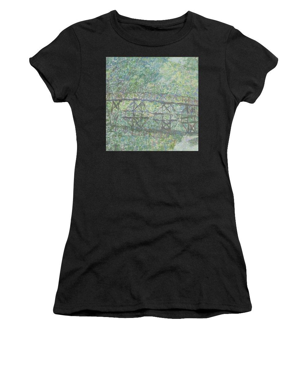 Bay Women's T-Shirt featuring the painting Bridge by Robert Nizamov