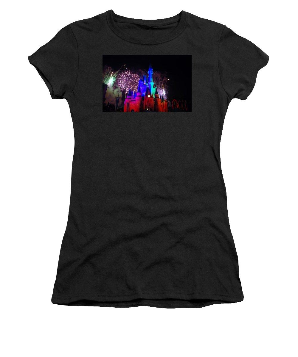 Walt Disney World Women's T-Shirt featuring the photograph Cinderella Castle by Rob Hans