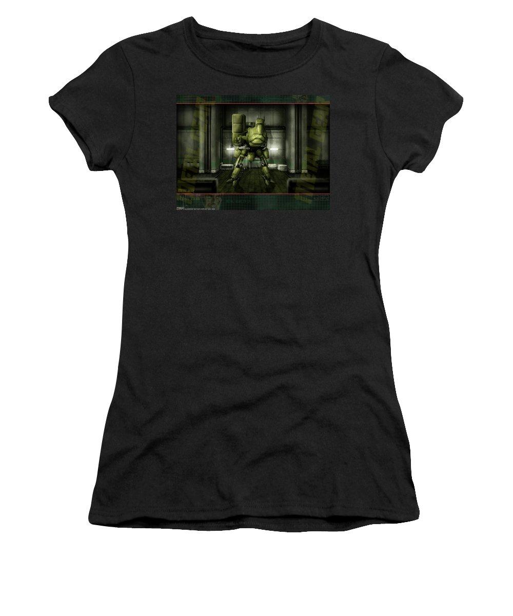 Metal Gear Women's T-Shirt (Athletic Fit) featuring the digital art Metal Gear by Mery Moon