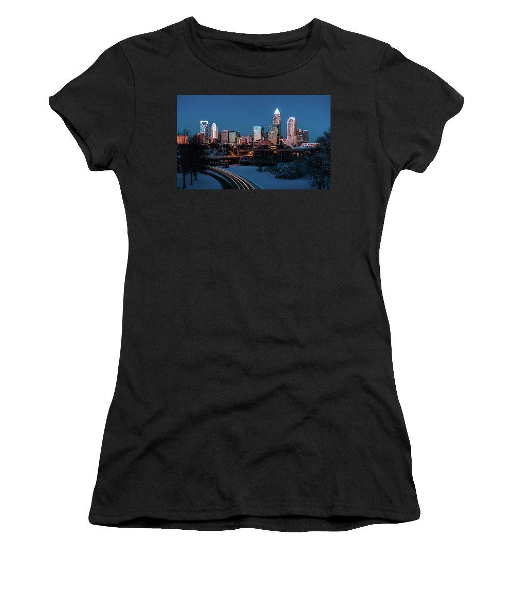 Winter Women's T-Shirt featuring the photograph Rare Winter Scenery Around Charlotte North Carolina by Alex Grichenko