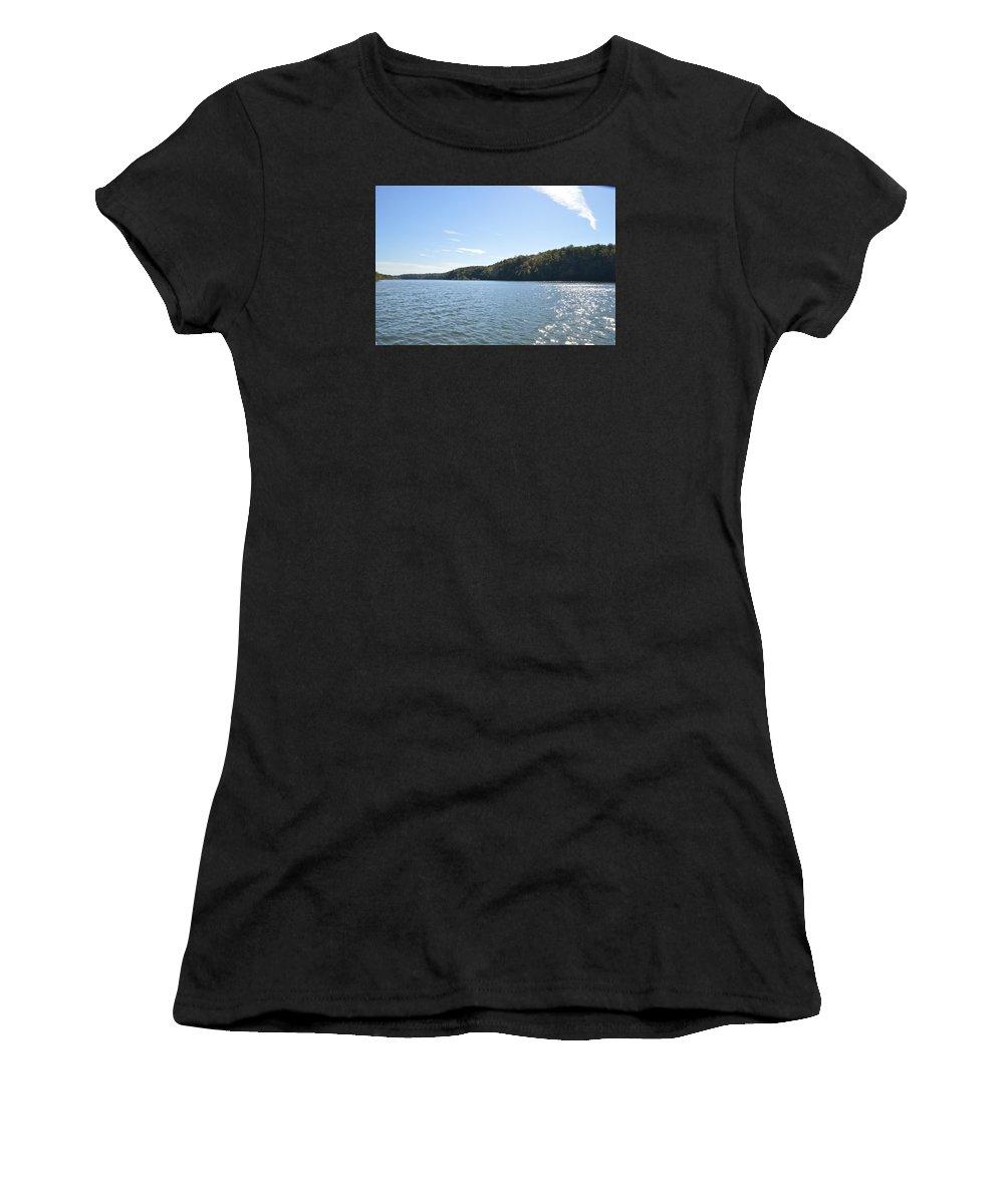 Savannah River River Old Bridge Women's T-Shirt (Athletic Fit) featuring the photograph Savannah River by Frank Conrad