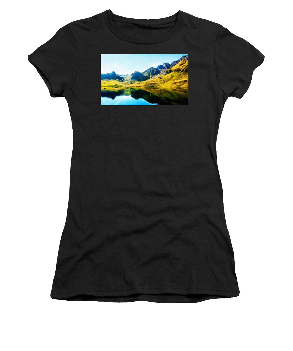 Landscape Women's T-Shirt (Athletic Fit) featuring the painting Oil Painting Landscape Pictures by World Map