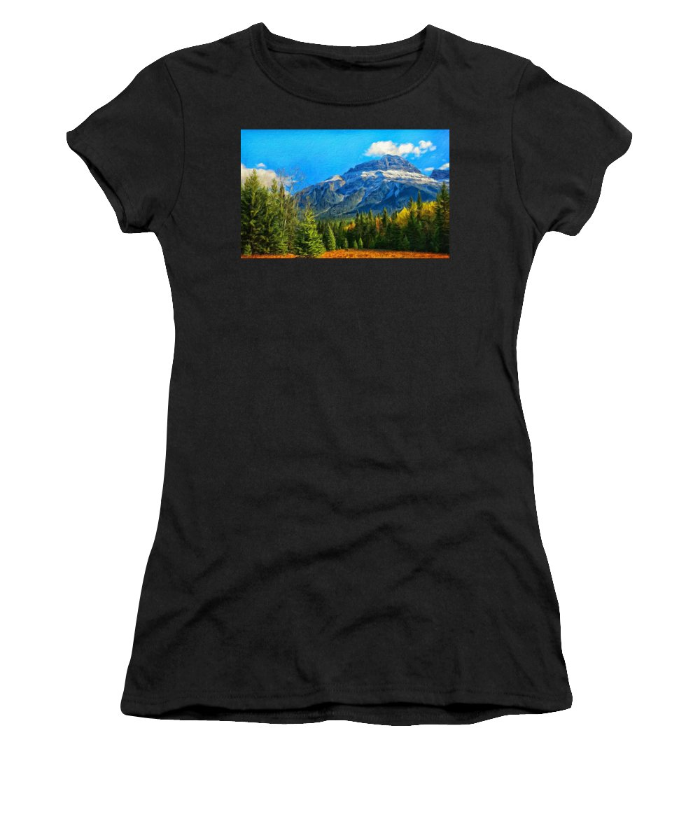 Landscape Women's T-Shirt (Athletic Fit) featuring the painting Nature Landscape Painting by World Map