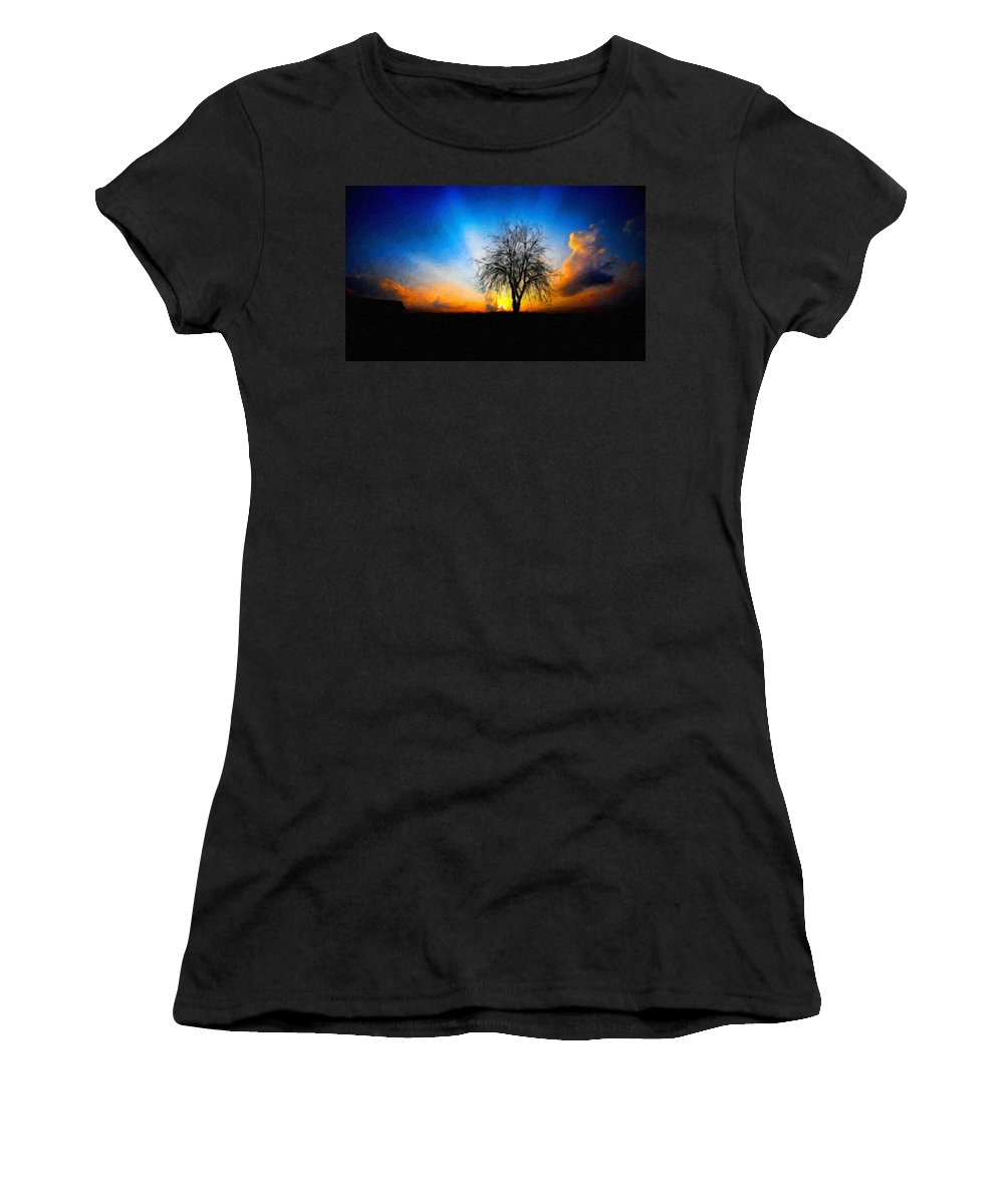 Landscape Women's T-Shirt (Athletic Fit) featuring the painting Landscape Nature Pictures by World Map