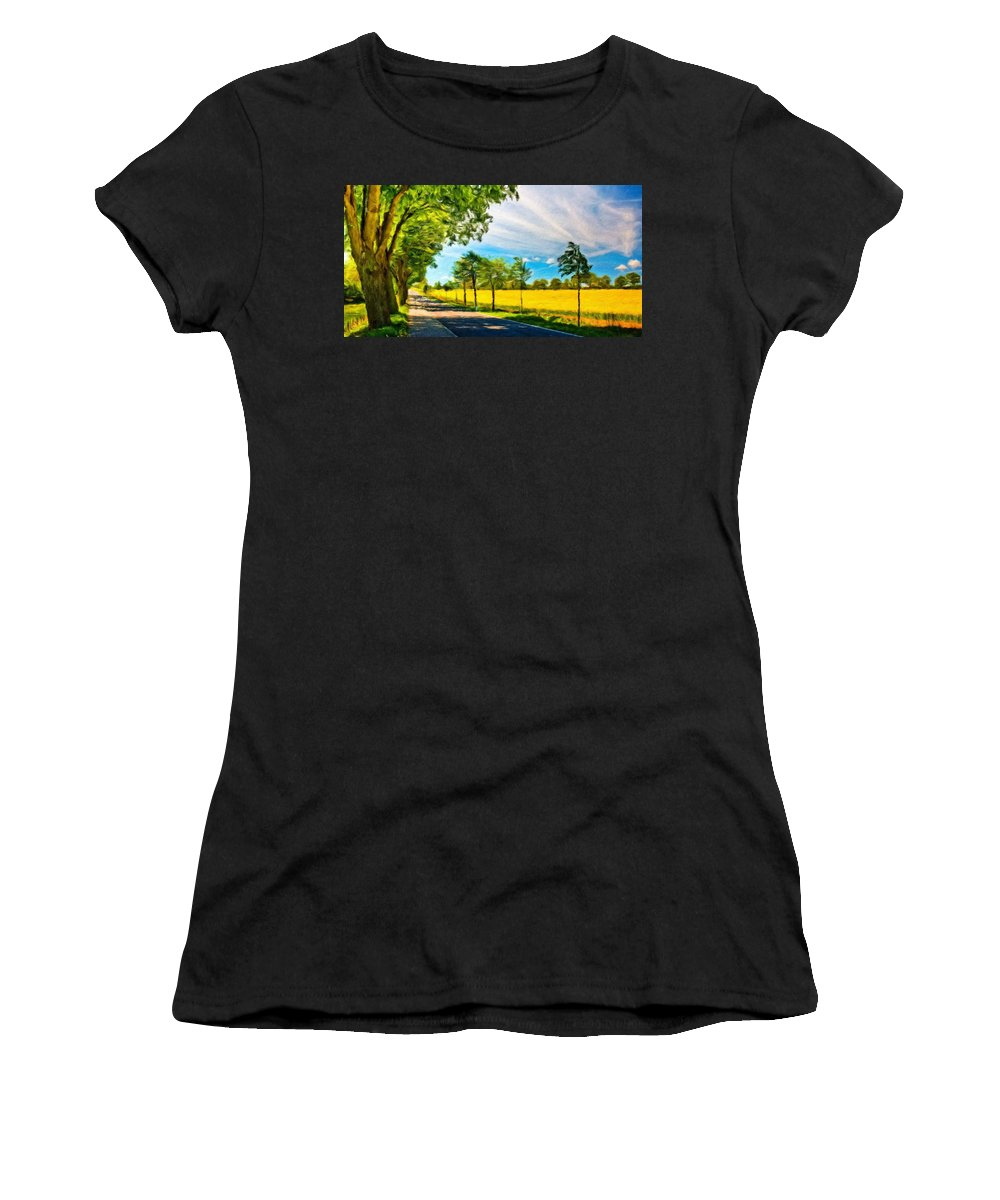 Landscape Women's T-Shirt (Athletic Fit) featuring the painting Types Of Landscape Nature by World Map