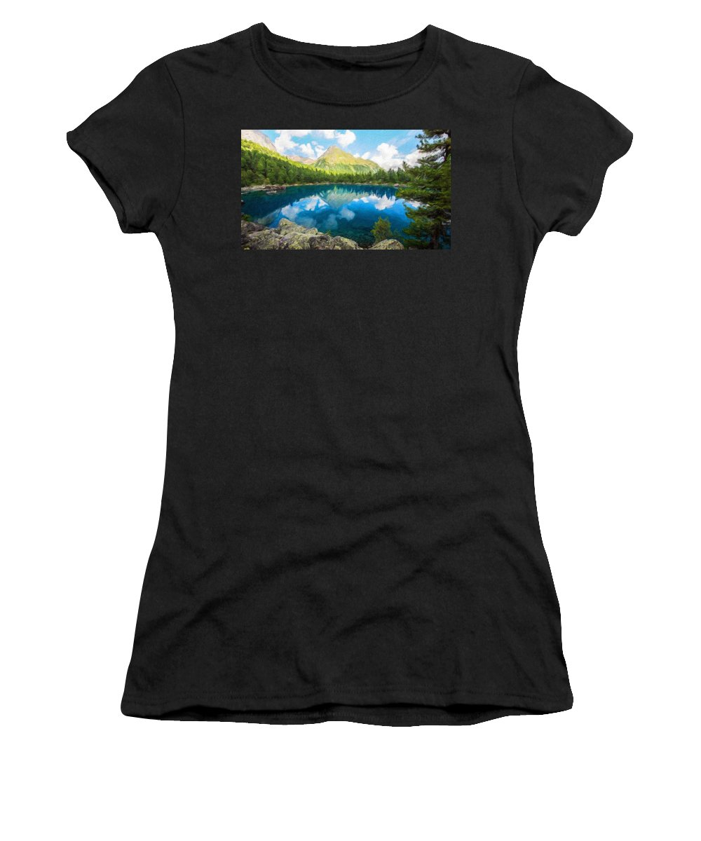 Landscape Women's T-Shirt (Athletic Fit) featuring the painting Landscape Definition Nature by World Map
