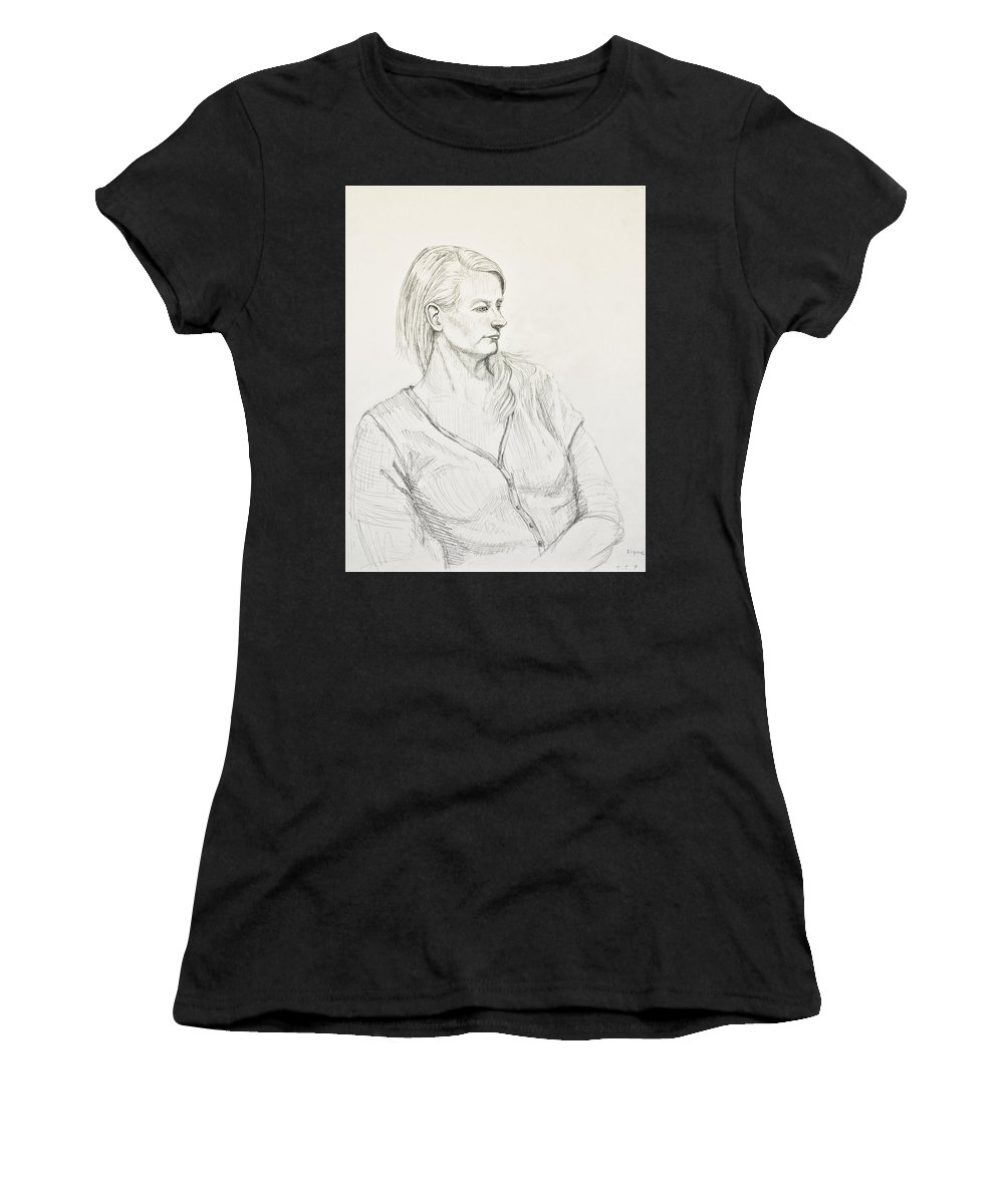 Portraiture Women's T-Shirt (Athletic Fit) featuring the drawing A Lady by Yoko Tsuda