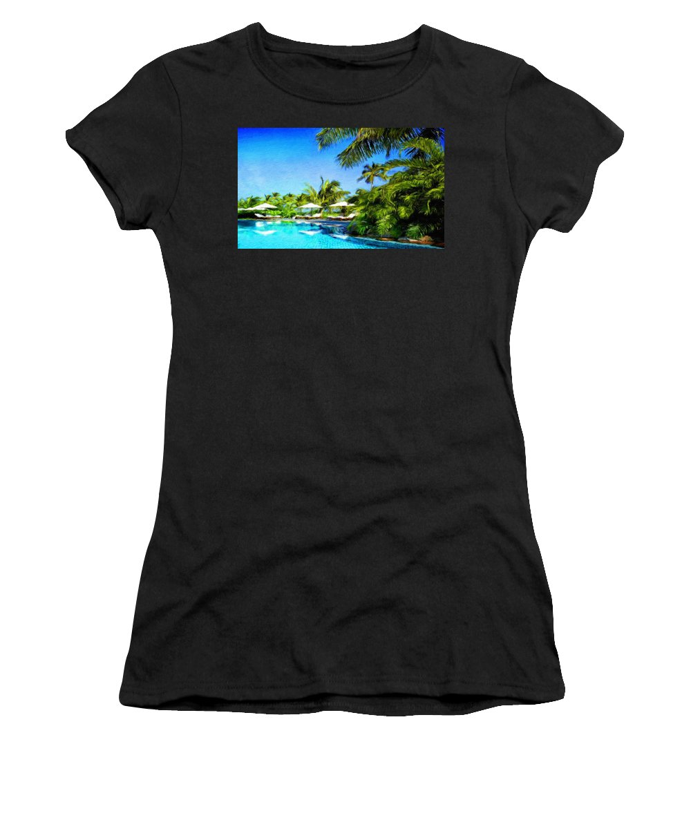 Landscape Women's T-Shirt (Athletic Fit) featuring the painting Nature Landscape Oil Painting For Sale by World Map
