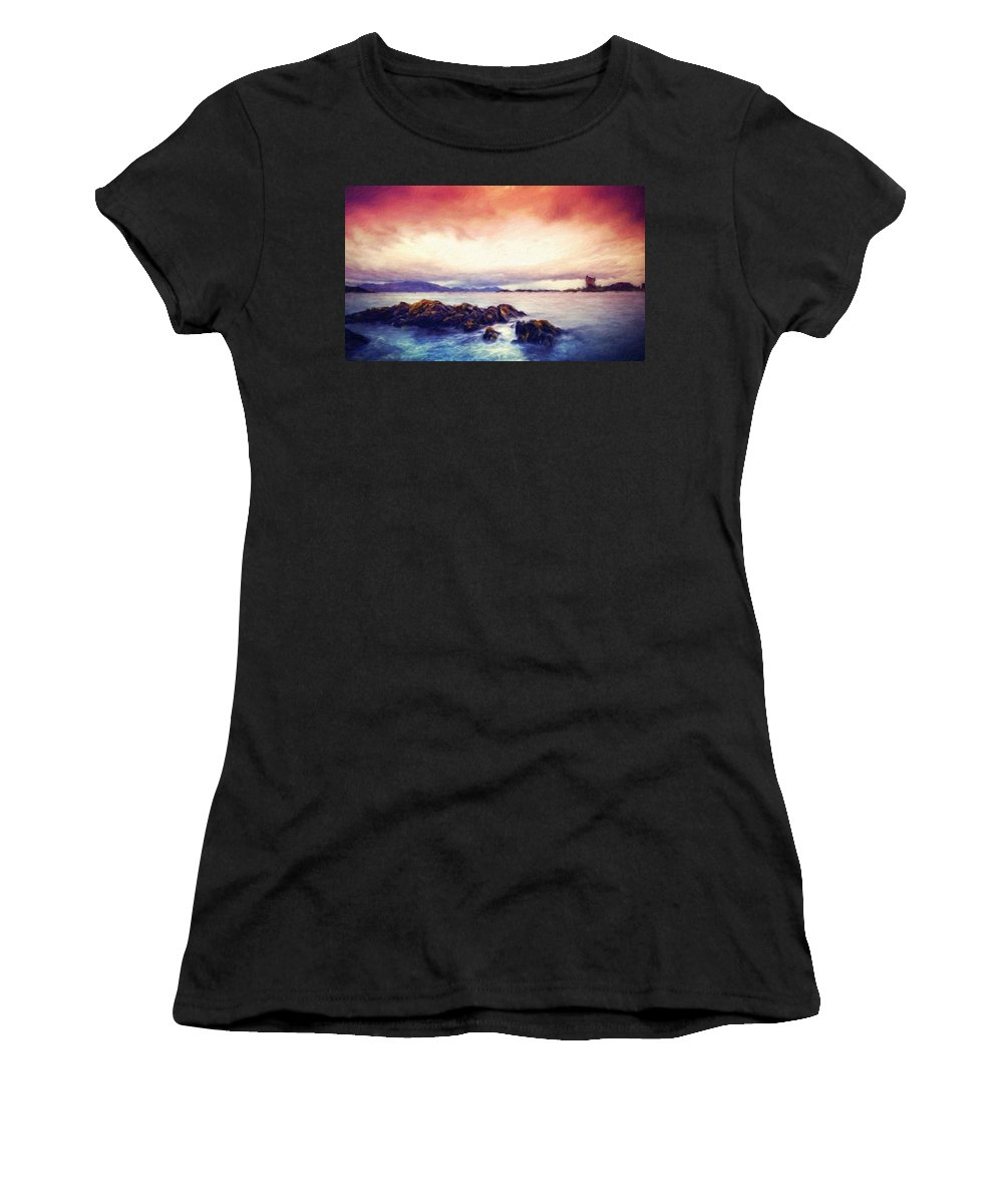 Landscape Women's T-Shirt (Athletic Fit) featuring the painting Nature Landscape Oil Painting On Canvas by World Map