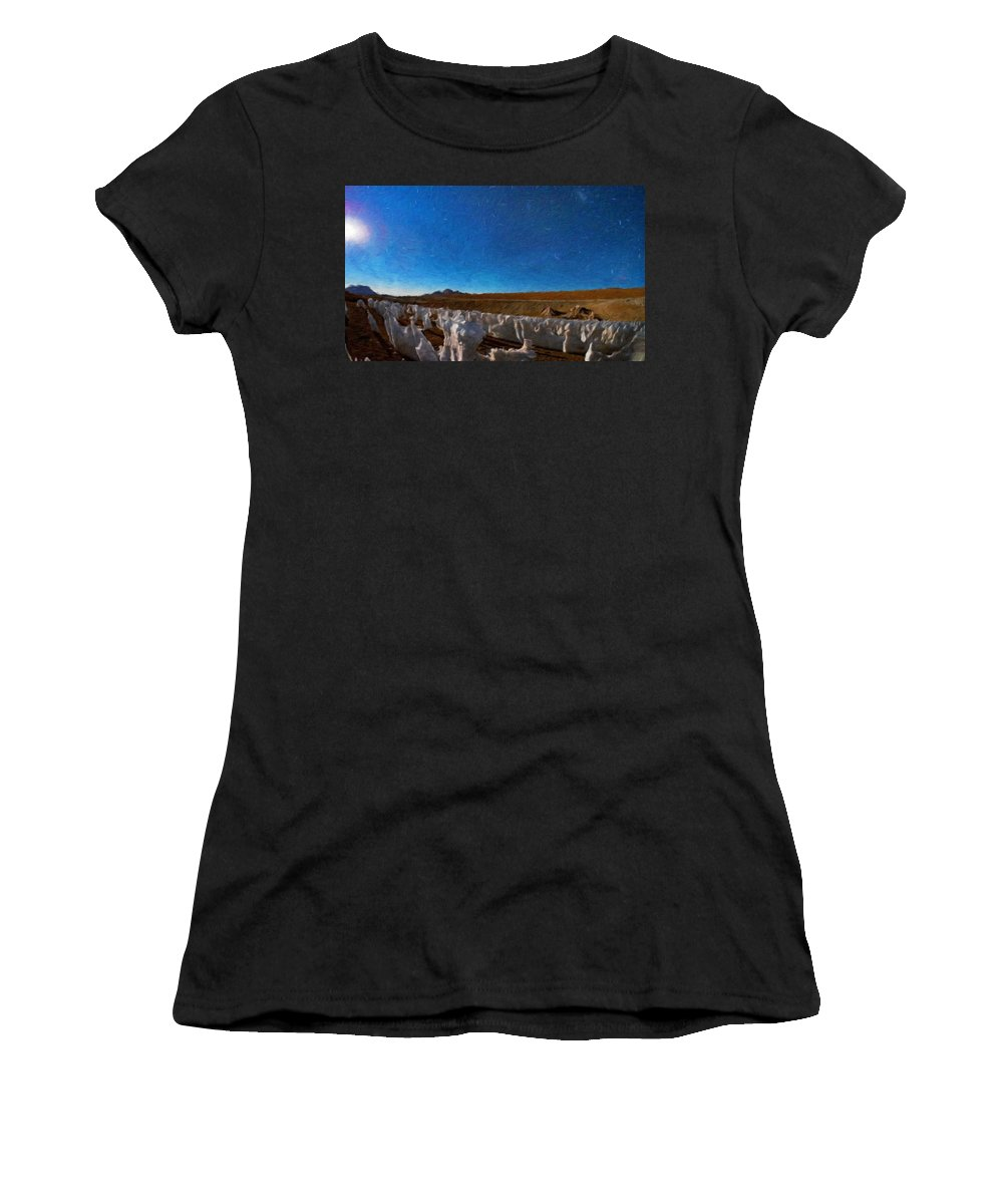 Landscape Women's T-Shirt (Athletic Fit) featuring the painting Nature Scenery Oil Paintings On Canvas by World Map