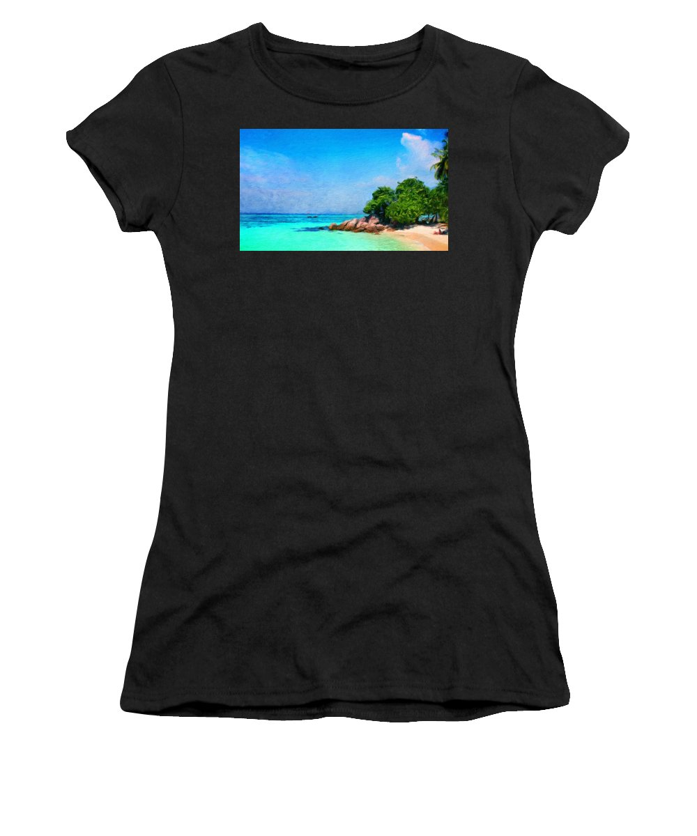 Landscape Women's T-Shirt (Athletic Fit) featuring the painting Landscape Paintings Canvas Prints Nature Art by World Map