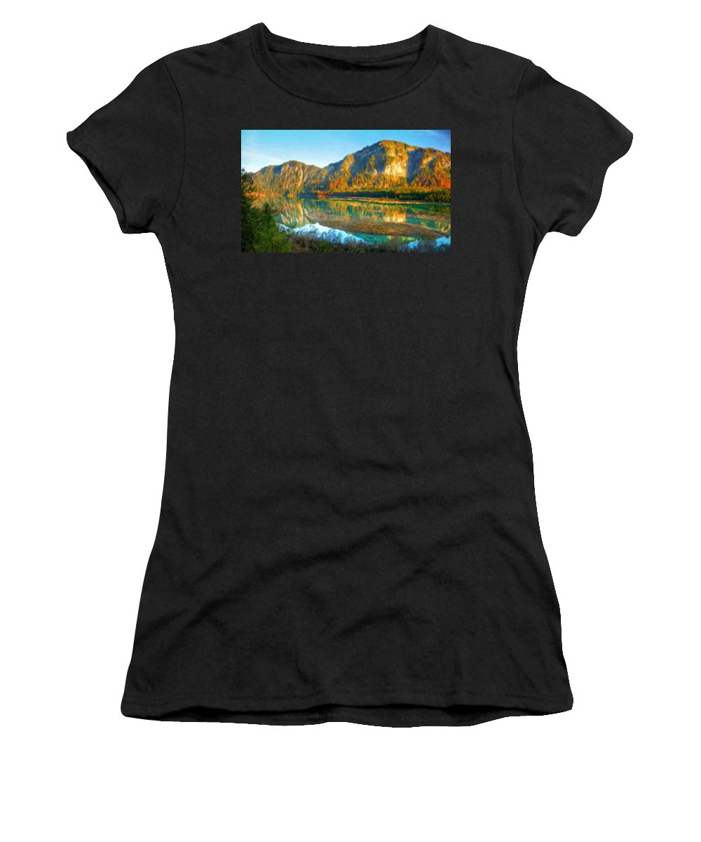 Landscape Women's T-Shirt (Athletic Fit) featuring the painting Nature Original Landscape Painting by World Map