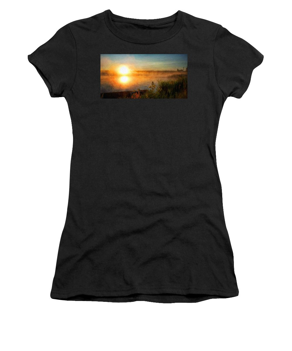 Landscape Women's T-Shirt (Athletic Fit) featuring the painting Landscape Art Nature by World Map