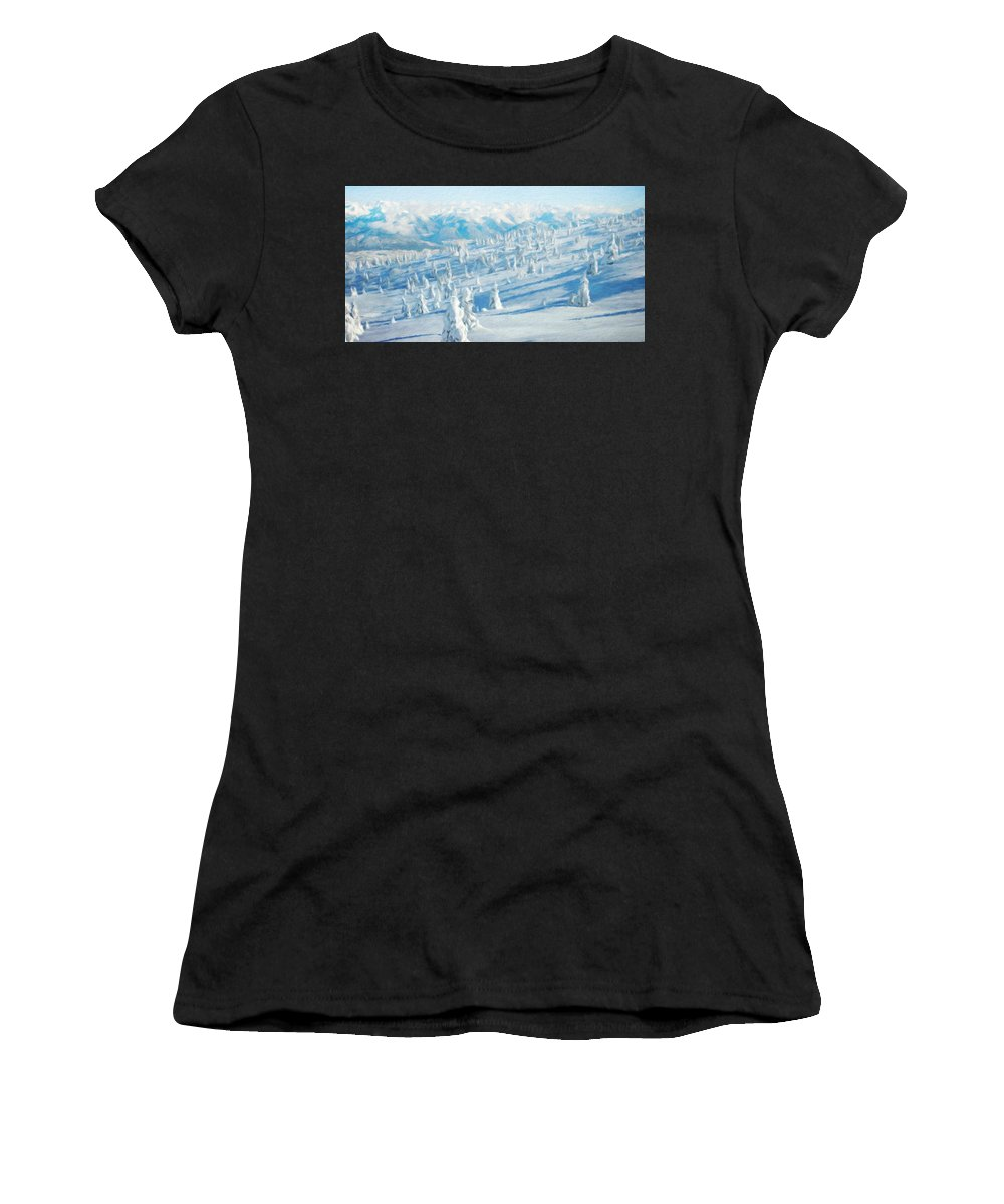 Landscape Women's T-Shirt (Athletic Fit) featuring the painting Landscape Nature Art by World Map