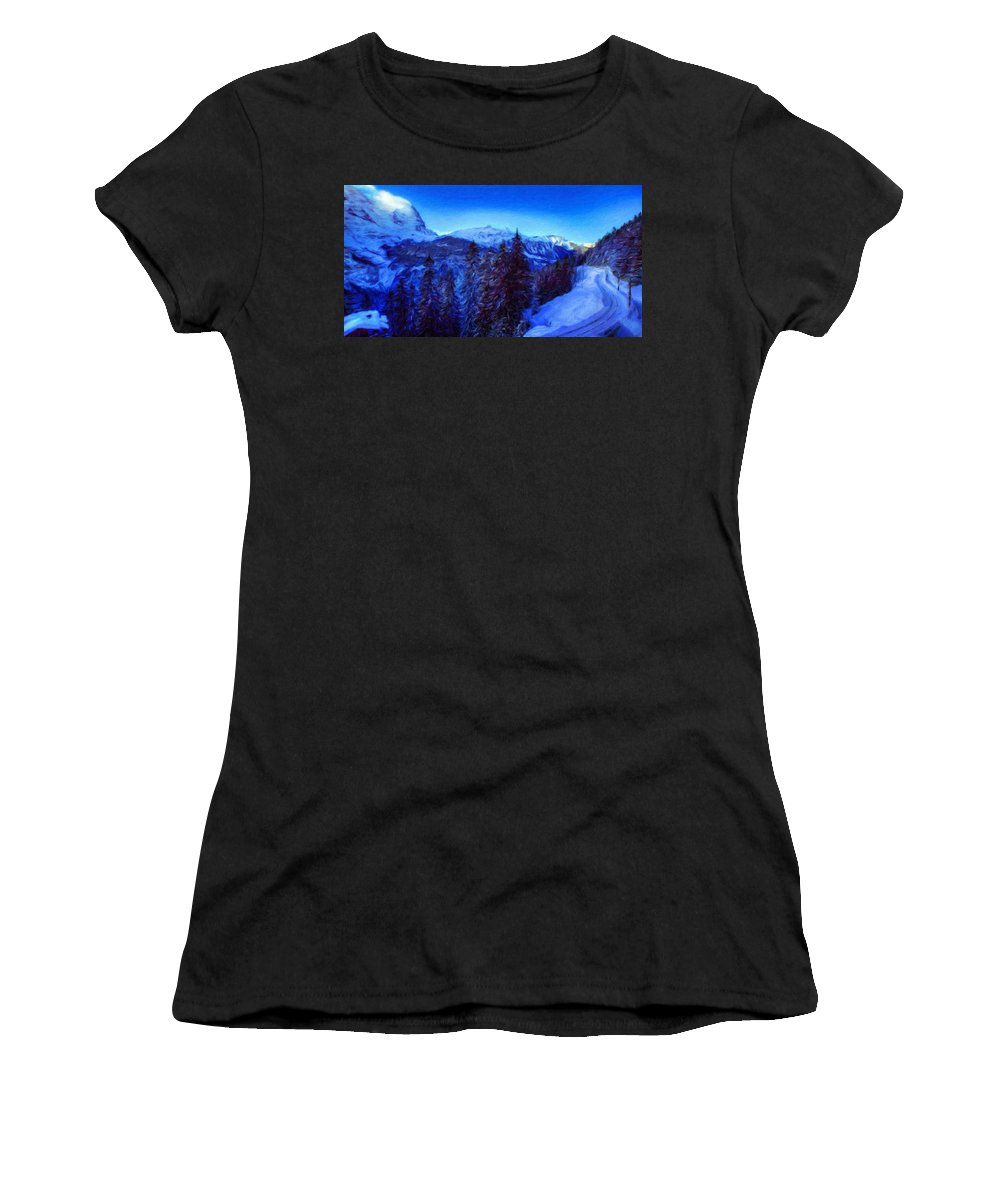 Landscape Women's T-Shirt (Athletic Fit) featuring the painting Nature Pictures Of Oil Paintings Landscape by World Map