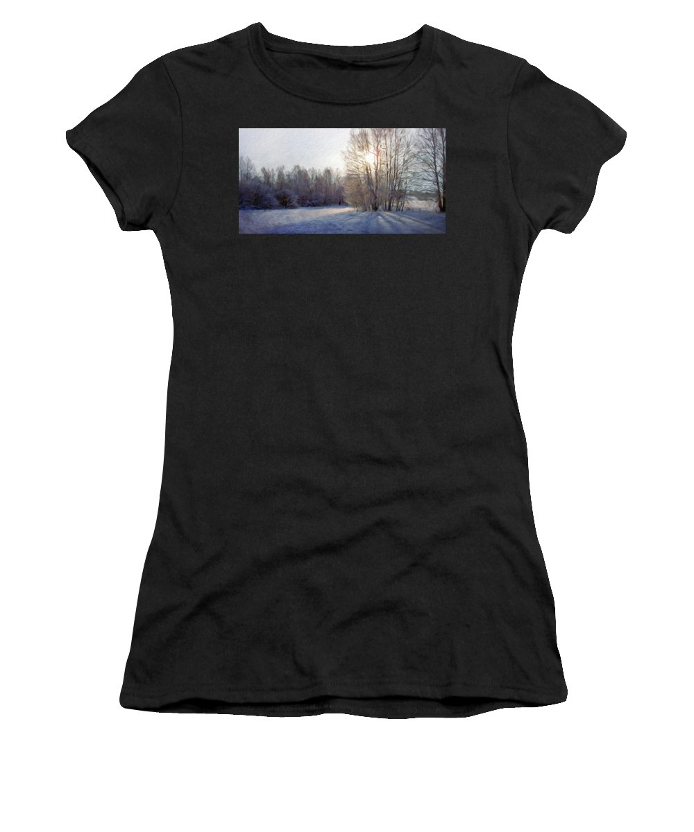 Landscape Women's T-Shirt (Athletic Fit) featuring the painting Art Landscape Nature by World Map